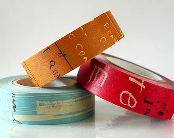 Graffiti Washi Tape Set DARK (A) Artistic Collage Japanese Masking Tape Set of 3 brown blue red