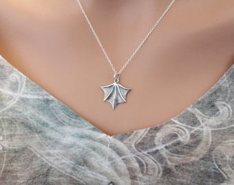 Sterling Silver Bat Wing Charm Necklace, Bat Wing Necklace, Bat Wing Pendant Necklace, Realistic Bat Wing Necklace, Silver Bat Wing Necklace