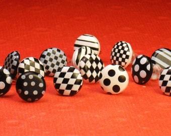 Black and White Geometric Stud Earrings