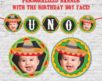 Personalized Fiesta Banner with Picture, Fiesta decorations, Fiesta Banner, Fiesta first birthday, Mexican Birthday Party, Digital