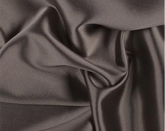 Taupe/Black Silk/Wool Gab, Fabric By The Yard