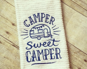 Camper Sweet Camper kitchen towel, Embroidered kitchen towel, dish towels, kitchen towels
