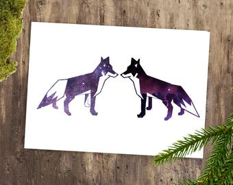 Printable Valentines Art - Fox Card, Printable Valentine Cards, Valentine Card for Boyfriend, Valentines Day Printable, Instant Download