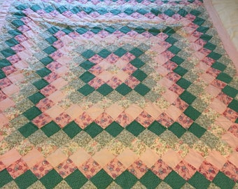 Green, Pink, and Blue Patchwork Baby Quilt