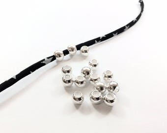 20 beads with large holes 8x6mm silver metal for jewelry designs