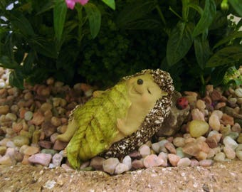 Sleepy Hedgehog - Fairy Garden - Terrarium - Miniature Gardening