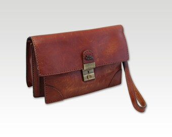 Vintage, Brown Leather Clutch, Wristlet, Purse, Handbag