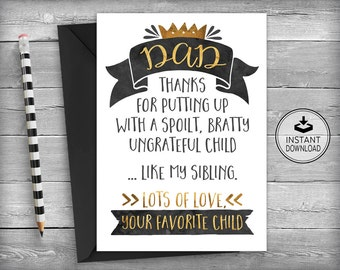Dad Birthday Card | Birthday Card for Dad | Birthday | Fathers Day Card | Father's Day |  Printable Card | Instant Download - Favorite Child