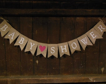 Baby Shower Banner, Baby Shower Bunting, Baby Shower Garland, Burlap Banner, Burlap Bunting, Shower Decor, Baby Shower, Photo Prop, Rustic