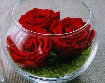 Ball Vase with 3 Eternal Roses