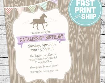 Printed Pony Horse Birthday Invitations and Envelopes