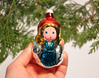 Girl Little Red Riding Hood  Christmas glass ornament, Retro Tree decoration, 1970s Christmas,Hand painted ornament (B70)