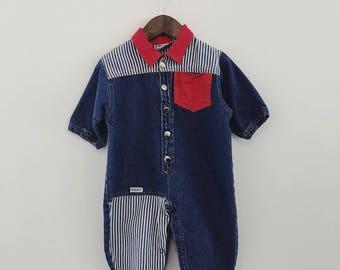 Vintage Baby Boy / Girl Denim Stripe Playsuit