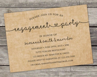 WE PRINT Textured Engagement Party Invitation Digital File 5x7 - Brown - Modern Engagement Party Invitation - Engagement 106