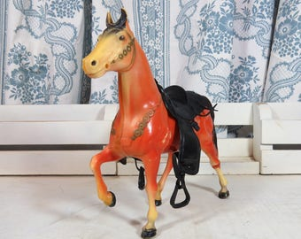 "Vintage Plastic Toy Horse with Saddle 8 1/2"" x 8"""