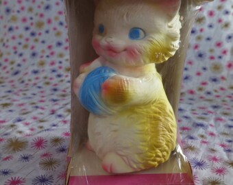 Edward Mobley, Kitten playing with yarn, in original packaging, 1954, Squeak toy. Playful Pets. Arrow rubber and plastics.