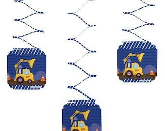 Set of 6 Construction Truck Hanging Decorations - Birthday Party Decorations