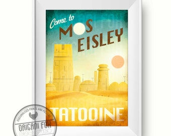 Star Wars Retro Travel Poster - Mos Eisley - Tatooine - Retro Print