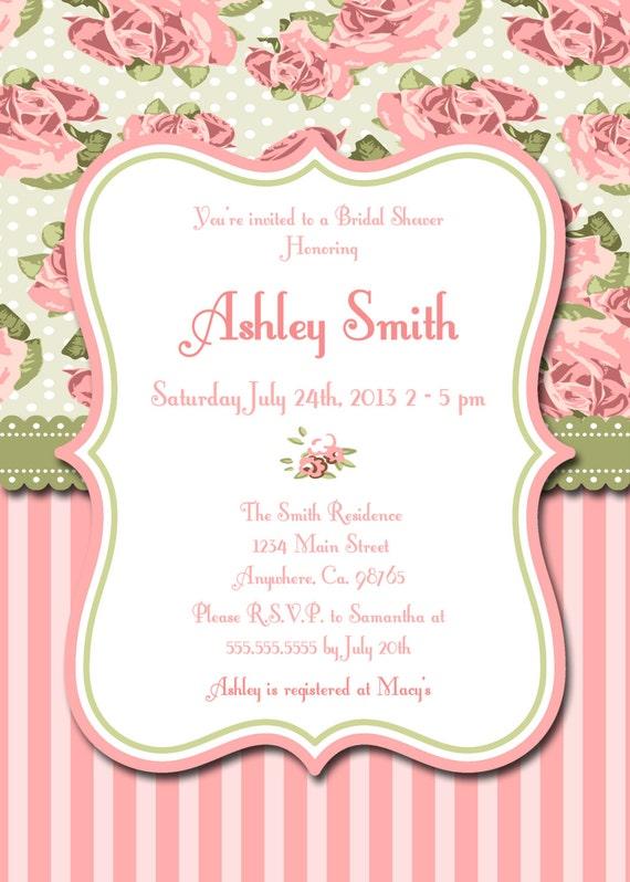items similar to pink shabby chic printable invitation personalized rh etsy com shabby chic invitations wedding shabby chic invitation vector