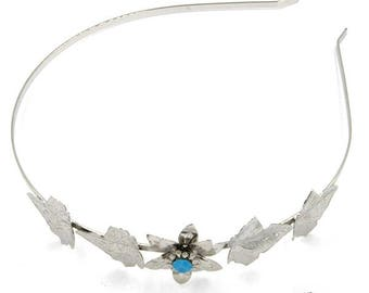 Flower with leaves headband, Swarovski crystals, Crystal headband, silver, turquoise, nickel free, handmade jewelry