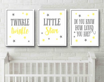 Twinkle twinkle little star Do you know how loved you are yellow and grey nursery art gender neutral room print