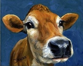 Jersey Cow Farm Animal Art Print of Original Painting by Dottie Dracos