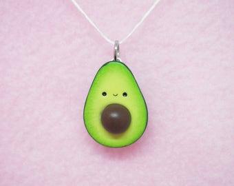 Cute avocado polymer clay charm - stitch marker - necklace