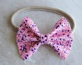 Love potion pink and purple sparkle bow