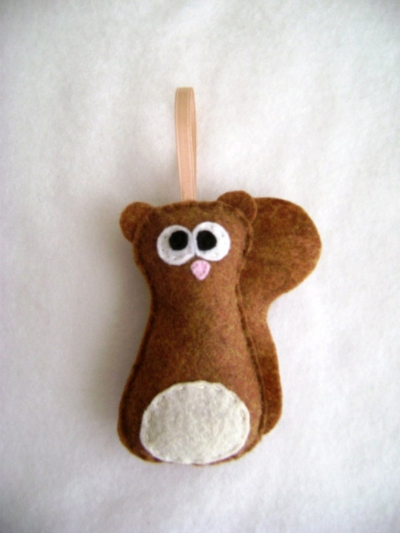 Squirrel Ornament, Felt Holiday Ornament - Sherlock the Honey Squirrel
