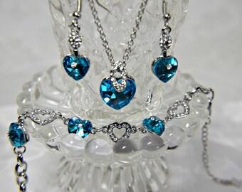 Blue Heart Bracelet, Something Blue, Turquoise Blue Crystal Heart Bracelet and earrings, Blue Heart Wedding Bridal Bracelet and earrings set