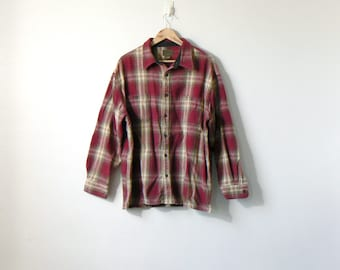 90s Red & Tan Heavy Flannel Shirt - Vintage Flannel - 90s Flannel Shirt - Thick Flannel - Oversized Flannel - Lumberjack Flannel - Men's 2XL