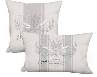 Grey Country Brambles Farmhouse Pillow Cover - Square Pillow - Rectangular Lumbar 12x18 12x20 12x24 14x20 14x22 14x26 16x20 16x24 16x26 Inch