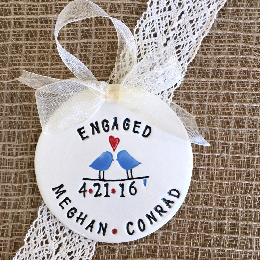 engagement ornament with love birds personalized ornament. Black Bedroom Furniture Sets. Home Design Ideas