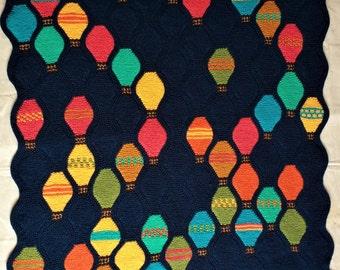 Knitting Pattern for a Picnic Blanket - Balloon Fiesta Design