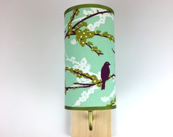 Wall Sconce Lamp - turquoise birds