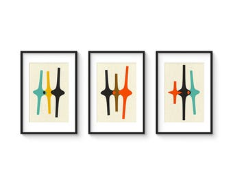 THREE FORMS Set no.1 - Collection of (3) Giclee Prints - Abstract Geometric Mid Century Modern
