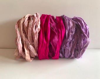 Sari Silk Ribbon-Pink, Magenta, Orchid Ribbon-9 Yards