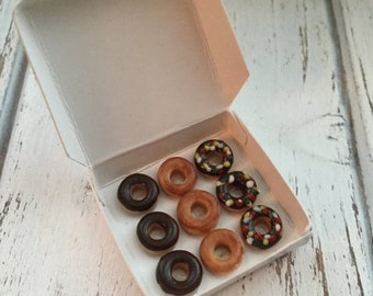 SALE Miniature Box of Donuts, Dollhouse Miniature,  1:12 Scale, Dollhouse Food, Miniature Food, Dollhouse Accessory, Decor, Mini Food
