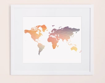 Colorful world map etsy colorful world map gumiabroncs Image collections