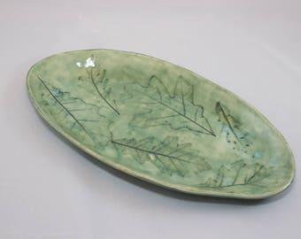 Handmade Ceramic Oak Leaf Oval Plate