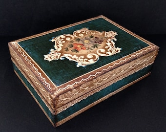 Florentine style wooden jewelry box. Vintage