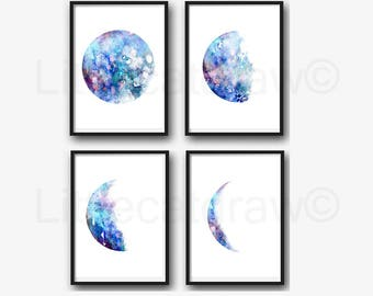 Moon Phase Print Set of 4 Watercolor Prints Luna Blue Galaxy Decor Lunar Phases Moon Art Home Decor 4 Art Prints Wall Art Wall Decor