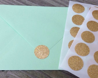 Glitter Envelope Seals Gold Stickers 1 inch - Wedding Stationary
