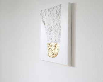 Modern contemporary gold white painting on canvas G20