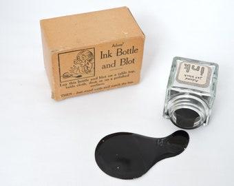 Vintage 1950's Ink Bottle & Ink Spot Practical Joke - Glass Ink Bottle with Joke Ink Spot - In Original Box