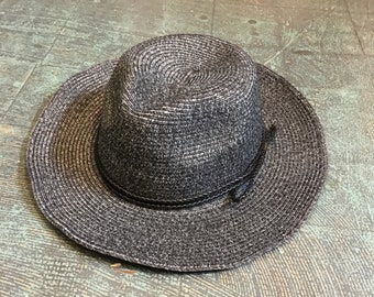 Black hat with braided cord trim // one size fits most