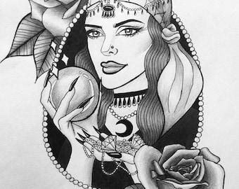 Gypsie Print (black and white A4)