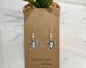 Elephant Antique Silver Hook/Dangly Earrings