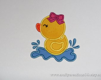 """Embroidered Iron On Applique """" Girl Duckie"""""""