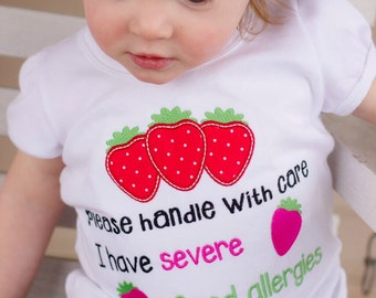 Food allergy shirt- Allergies Awareness Shirt- Strawberry Allergy Warning shirt- Nut Allergy Shirt- Girl's Allergy Shirt- Severe Food shirt